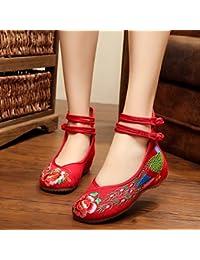 &HZOU Extremo del viento/del bordado/mujer/zapatos/zapatos/cuñas/tendón de China de primavera/verano/otoño/vintage/moda/color , red , 38