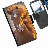 Hairyworm- Pferde Nokia Lumia 630 Leder Klapphülle Etui Handy Tasche, Deckel mit Kartenfächern, Geldscheinfach und Magnetverschluss.