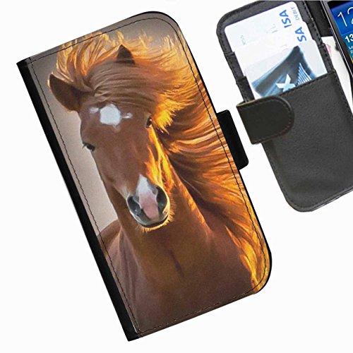 Hairyworm- Pferde Apple Iphone 3G, 3Gs Leder Klapphülle Etui Handy Tasche, Deckel mit Kartenfächern, Geldscheinfach und Magnetverschluss. Iphone 3g Leder-etui