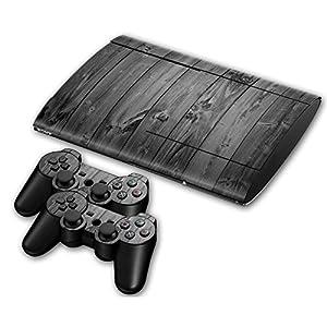 Sony PS3 Playstation 3 Super Slim Skin Design Foils Aufkleber Schutzfolie Set – Grey Wood Motiv