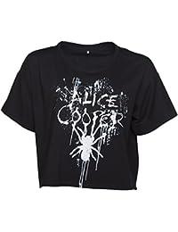 Womens Black Alice Cooper Splatter Slouchy Cropped T Shirt