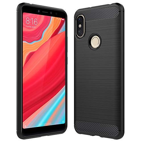 Anjoo Compatible para Funda Xiaomi Redmi S2, Carbon Fiber Texture de Inner Shock Resistant de Suave y Flexible TPU Cover Case para Xiaomi Redmi S2 Negro