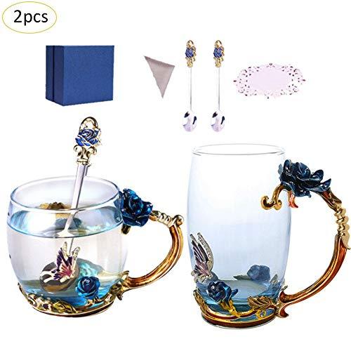 Hifuture teetassen Set,2pcs Frauen Neuheit 3D Blume Glas Tassen Kaffeetassen mit...