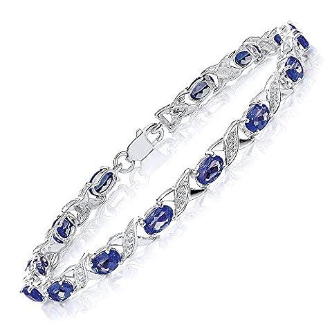 Theia Bracelet 925 Argent Ovale Saphir et Diamant Femme - TH4485