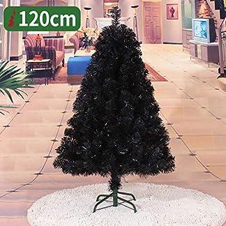 WZR Negro Árbol De Navidad Artificial Tinsel, 120cm Artificial Árbol De Navidad Fácil De Ensamblar con Sólido Soporte En Metal Interior Exterior