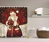 dsgrdhrty Pupazzo di Cartone Animato Babbo Natale schiaccianoci su Sfondo Grigio Rosso Tenda da Bagno Impermeabile Antibatterica indossabile e Lavabile