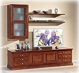 Composizione per parete Tv in stile classico, mobili per soggiorno living salotto in legno, base porta tv in stile con vetrine e mensole anche per grandi tv. Composizione mobili in stile classico.