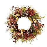 Anna-neek Adventskranz Türkranz Weihnachtskranz Kranz Beleuchtet Deko Mit Rattan, Tannenzapfen, Rote Früchte, Glitzernde Kugeln, Weiße Tannennadeln
