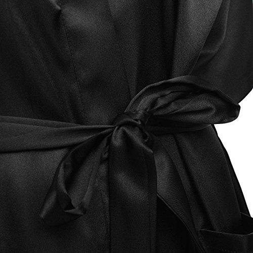 ZANZEA Femme Sexy Kimono Nuisette Lingerie Nuit Grand Taille Peignoir Robe Noir