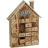 matches21 Adventskalender Holzhaus Merry Christmas mit nummerierten Schubladen zum Selbstbefüllen 26x5x36 cm