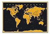 Weltkarte in Schwarz & Gold Poster Magnettafel Buchenholz-Rahmen, 96,5x 66cm (ca. 96,5x 66cm)