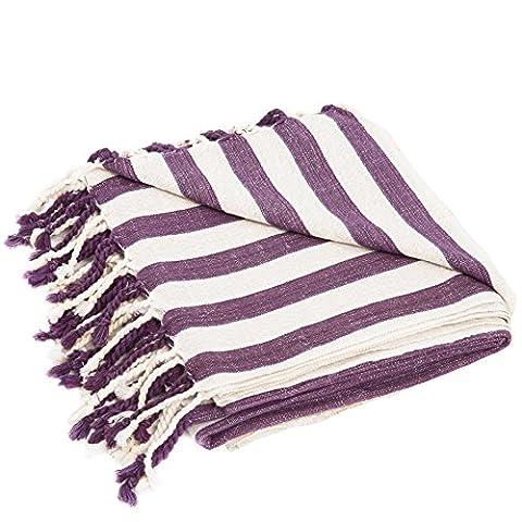 Turkish Bath Towel, Linen by Raven's Landing, 1x2m Large, Handwoven Artisan Hamam Peshtemal, Lightweight, Quick-Drying, Bath or Beach