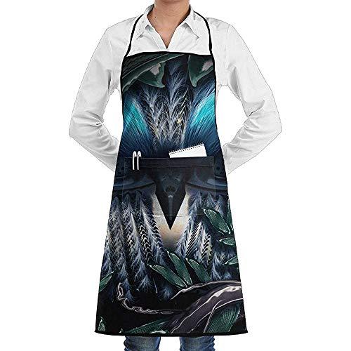 UQ Galaxy Kochschürze,Cartoon Eule Baum Schürze Spitze Unisex Chef Einstellbare Lange vollschwarze Küche Schürzen Lätzchen mit Taschen zum Backen basteln BBQ (Eule Im Baum Kostüm)