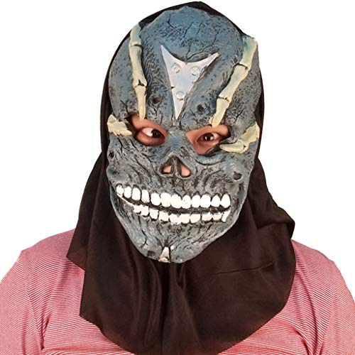 Halloween Weihnachten Maske Terrorist Kopfbedeckung Scary männlich Erwachsene weibliche Gesicht Perücke Maskerade Status Demon Death Mask Masken (Color : Brown, Size : 36CM/14inch) (Vampir Make-up Männlichen)