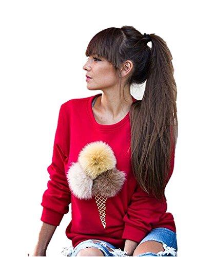 ASCHOEN - Sweat-shirt - Manches Longues - Femme Rouge