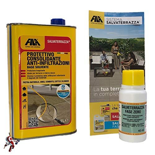 Fila Salvaterrazza 1 lt con Fila Salvaterrazza Fasezero 40 ml impermealizzante protettivo Salvaterrazza Fila consolidante anti infiltrazione