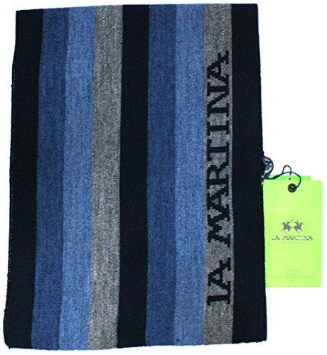La Martina Sciarpa Unisex Made in Italy Cm 170x20 Blu