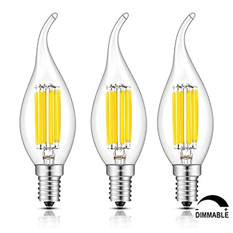TAMAYKIM 6W Dimmable LED Filament Candle Light Bulb, 4000K Neutral White 650LM, E14 Candelabra Base Lamp, C35 Flame Shape Bent Tip, Clear Glass Cover, 65W Incandescent Equivalent, 3 Pack