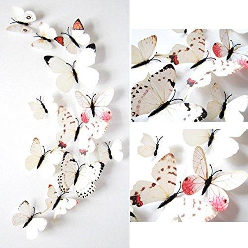 Zhen + 12 Stück 3D Schmetterlinge Wandaufkleber Vorhang Kühlschrank Sticker, Hauptdekor Kunst Wandbild Decor Entfernbare Wandtattoos Sticker Wanddeko (Weiß) (Schmetterling-kühlschrank-magnete)