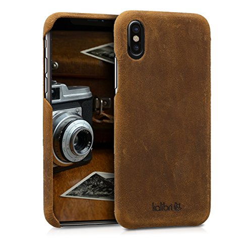 kalibri-Echtleder-Backcover-Hlle-fr-Apple-iPhone-X-Leder-Case-Cover-Schutzhlle-in-Braun