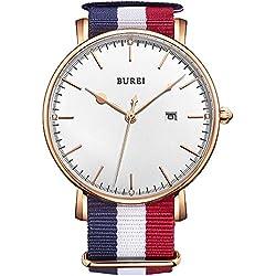 BUREI Men's Date Display Scratch-resistant Sapphire Precise Quartz Watch with Fabric Strap
