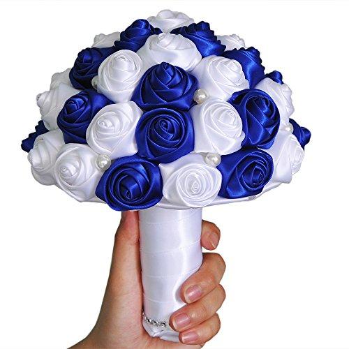 Topq ueen nozze sposa con bouquet floreale bouquet privat realizzato a mano di nozze perle holding fiori di perline, strass, raso matrimonio bouquet blu reale
