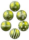 Magnete Weihnachten für Glasmagnettafel Extra Stark Motiv Weihnachtskugel Grün 6er Set Gross Rund 50mm Weihnachtsdeko Kugeloptik