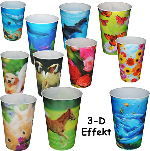 alles-meine.de GmbH 8 Stück _ 3-D Effekt _ 3 in 1 - Trinkbecher / Zahnputzbecher / Malbecher - Becher -  Blumen & Tiere / Fische  - 320 ml - mehrweg - Trinkglas aus Kunststoff .. - 3-tier-garten
