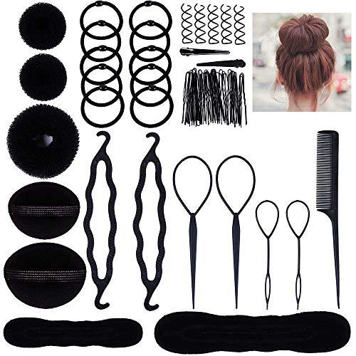 TOOGOO Accessoires de Coiffure, Set d'Outils de Coiffure Cheveux Coiffure Stylisee Accessoire Cheveux Filles Eponge en Mousse Clip a Chignon Tresse