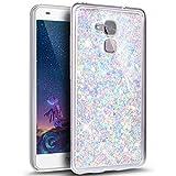 Kompatibel mit Huawei Honor 5C Hülle,Glänzend Bling Glitzer Diamant Muster TPU Silikon Handy Hülle Tasche Silikon Case Durchsichtig Handyhülle Etui Case Cover Schutzhülle für Huawei Honor 5C,Lila