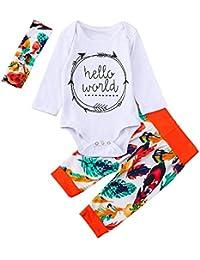 JYC Conjuntos para niñas,Ropa para Chicas,Infantil Bebé Chicos Chicas Carta Tops Camisa+Hoja Impresión Pantalones Trajes Conjuntos