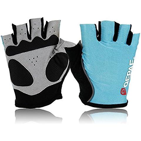 iParaAiluRy ciclo de la bici al aire libre Deportes de bicicletas antideslizante respirable de los guantes de medio dedo, color: azul, Talla M