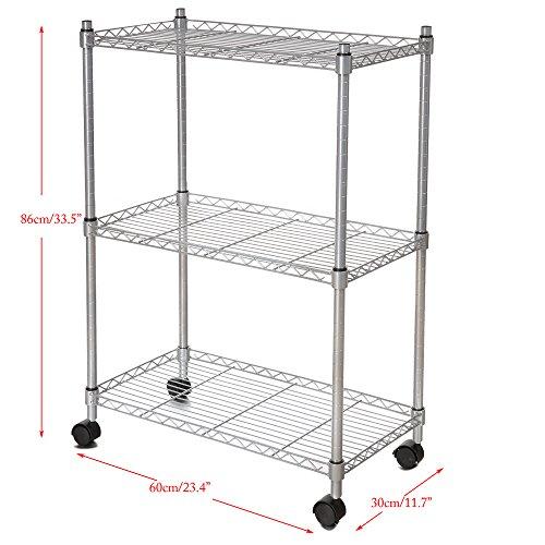 homdox 3-tire Robuster Regalen Lagerung Organizer Draht Regal Rolling Cart Rack mit Rollen (Organizer Rack Draht)