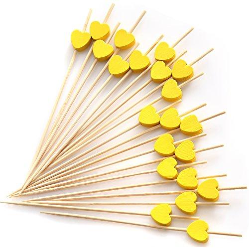 PuTwo Cocktail-Zahnstocher, handgefertigt, 100Stück, Braunbär-Zahnstocher, Bambus, Yellow Heart, Yellow Heart