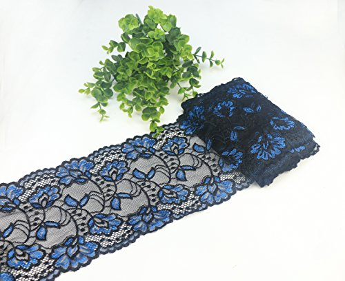 Yulakes 5 Yards Blau und Schwarz Spitzenborte Spitzenband Zierband Stretch Spitze Blume Borte Hochzeit Lace Trim Deko Band,Handwerk, Schleifband 15cm Breite -