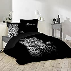 J&K Markets funda de edredón 220x 240cm leopardo–Wild Nature 100% algodón