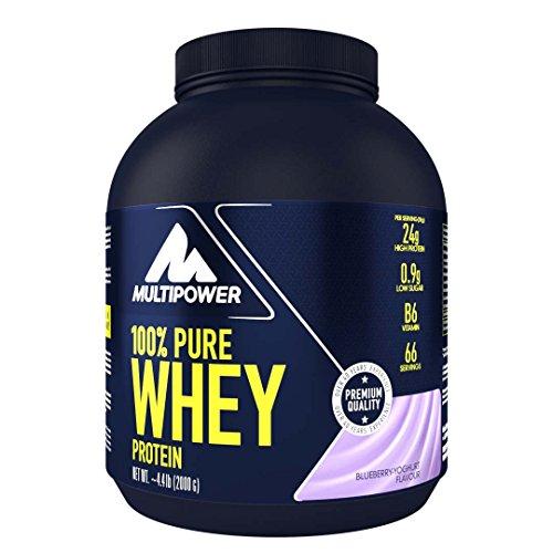 Multipower 100% Pure Whey Protein - wasserlösliches Proteinpulver mit Blueberry Yoghurt Geschmack -  Eiweißpulver mit Whey Isolate als Hauptquelle - Vitamin B6 und hohem BCAA-Anteil - 2 kg (Blueberry-geschmack Für Kaffee)