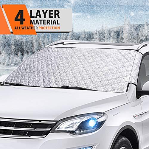 Especificaciones: Material: Tela de PVC de alto nivel Color: Plata Gama: Universal Tamaño: 57.87 X 40.16 inch  El paquete incluye 1 x Funda de Parabrisas