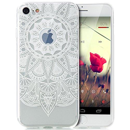 iPhone 8 Hülle,iPhone 7 Hülle,Schutzhülle Silikon Hülle für iPhone 7 /8,ikasus® TPU Silikon Schutzhülle Case Hülle für iPhone 7 / 8,Durchsichtig mit Indische Sonne Schmetterling Blumen Muster Handyhül Weiße Mandala Blumen
