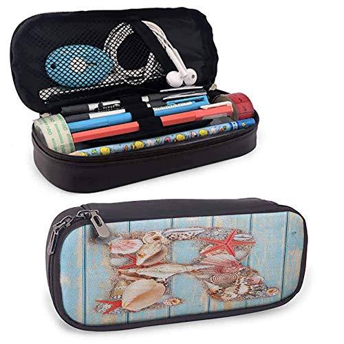 Buchstabe R PU Leder kleine Bleistift Tasche tropische Tiere in Alphabet Art Ocean Buchstabe R Muscheln Seestern Reißverschlusstasche für Kugelschreiber, Bleistifte
