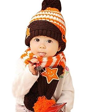 HappyCherry® Unisex Baby Mütze Beanie Kappe Wolle Fleece Strickmütze mit Schal 2 Stücke Set