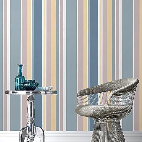 Fresco Great Value Rico Stripe Multi Teal Wallpaper 50-662