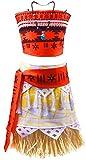 Decstore Moana Mädchen Abenteuer Outfit Cosplay Kostüm Rock Set Prinzessin Kleid mit Halskette 9-10T