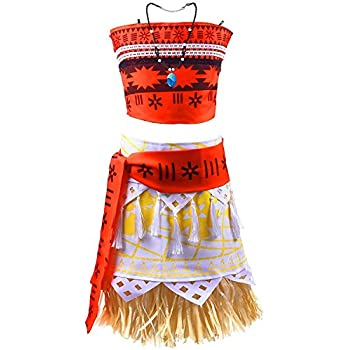 Elegant DecStore Moana Girls Adventure Outfit Cosplay Costume Skirt Set With  Necklace 3 4T