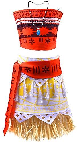 Prinzessin Kostüm Disney Authentische - DecStore Moana Mädchen Abenteuer Outfit Cosplay Kostüm Rock Set Prinzessin Kleid mit Halskette 9-10T