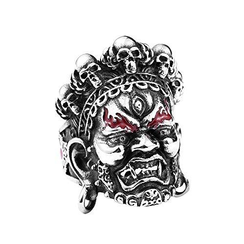 LNYACHI Edelstahl Tibetischer Buddhismus Große Weide King Kong Ring Offenen Mund Böse Geister Ring Für Männer,Größe 67(21.3