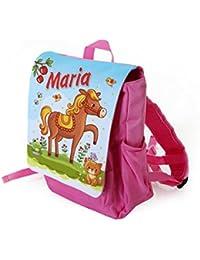 Preisvergleich für Kinderrucksack Motiv: Pferd für Mädchen in pink individuell mit Name bedruckt, ideal für Kita/Kindergarten Kindergartenrucksack...