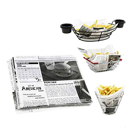 Uniqus Zeitung Hot Dog Papier Lebensmittelqualitt Wachs Beschichtetes Papier Schwarz Und Weiß mit Lebensmittelqualitt Wraping Ã-labsorbierenden Blatt 22 * 22 cm 50/100/200 stcke - Revolving-cupcake