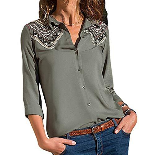 TEBAISE Weihnachten Ausverkauf Frauen Büro Oktoberfest Party offenen Kragen Elegante Formale Casual Revers Neck T-Shirt Damen Langarm Schnalle Bluse Tops