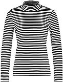 Gerry Weber Damen T-Shirt 1/1 Arm Ringelshirt mit Stehkragen Schwarz/Ecru/Weiss Ringel 48